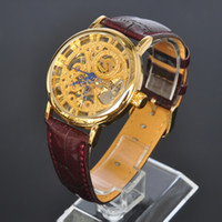 Wholesale Mens Wrist Watches Manual - SOKI Skeleton Watches Luxury Gold Plated Analog Time Manual Winding Mens Mechanical Leather Band Wrist Watch