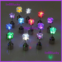 Wholesale Stainless Steel Earrings Color - LED Earrings Light Up Crown Shaped fashion Shiny Studs flashing earrings many color for your choose