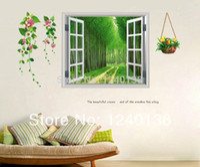 Wholesale Tree Window Art Decals - Wholesale-3D Boulevard Window Scenery Tree Flower Art Wall Stickers Vinyl Decal Home Decor 2014