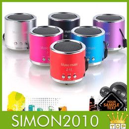 Wholesale Mp3 Player Vibration - Portable mini speaker Z12 card aluminum vibration film speaker play music with memory card USB Micro TF Card mp3 Rechargeable player 6 color