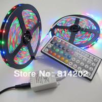 Wholesale Light Bulb Adapter Leds - Wholesale-RGB 3528 LED Strip Lights 10M (2 Rolls) Waterproof 300 leds SMD Bulbs Lamp + 44 KEYS IR remote + 2A power Adapter
