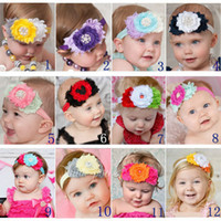 Wholesale Triple Shabby Headbands - New Baby Girl Pearl Chiffon Headband fashion Triple shabby Rhinestone headband flower Sweet Baby Photography Props Children Christmas gifts