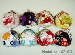 Wholesale Wholesale Fabrics Silk Red - Wholesale-**Hot Sale**24pcs`Japan!!Lucky Cat Coin Purse Wallet Coin Bag Purse+(Silk) (CP-03)