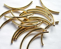 Wholesale Tube Curved Gold - Metal Beads Gold Plated Curved Tube 45x3mm 100pcs lot