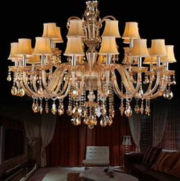 modern tier chandelier UK - Huge Chandelier for living room fabric shade crystal chandelier contemporary crystal lighting with fabric lampshade multi-tier chandelier