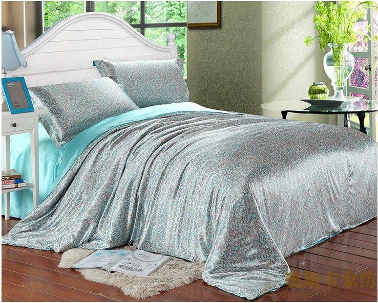 Gentil Aqua Blue Paisley Luxury Silk Satin Bedding Comforter Set For King Queen  Full Twin Size Duvet Cover Bedspread Bed Sheet Bedroom Bedroom Damask  Bedding Queen ...