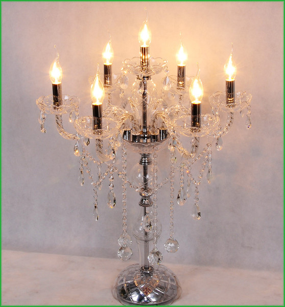 Lamp Antique Crystal Candelabra Crystal Candelabra Vintage Candelabra Crystal Table Lamp Modern Lights Wedding Centerpiece Led Table Lamps Canada 2019