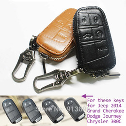 Wholesale Key Fob Dodge - Wholesale-Leather car key case Fob cover for Jeep 2014 Grand Cherokee Dodge Journey Chrysler 300C smart remote key holder shell key rings