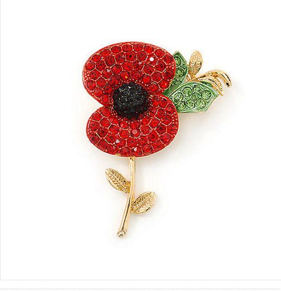 2 Inch Red Diamante Crystal Rhinestone Poppy Flower Brooch with leaf Gold Finish Gilt Finish New