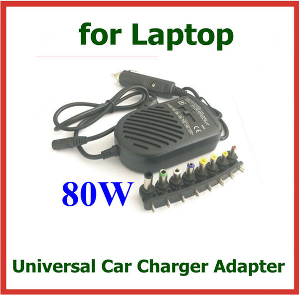 best selling 80W Universal DC Car Auto Charger Power Supply Adapter for HP IBM COMPAQ Sony Toshiba etc Laptop Notebook + 8 Detachable Plugs