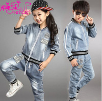 Wholesale Leisure Suit Children - Wholesale-Autumn spring children clothing Boys girls leisure suit coat+pants 2 pieces 5s l