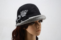 Wholesale Cloche Crochet Wholesale - Women Foral Bowler Hats Flower Trimmed Cloche Crochet Hats