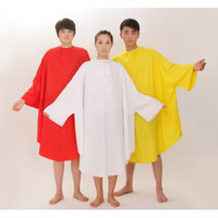 Wholesale Hair Cutting Clothes - red white yellow black hair cutting cape with sleeves salon clothes waterproof anti-static