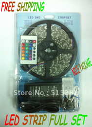 Wholesale Smd 3528 Package - Wholesale-5050 flexible RGB LED strip full set cheap price ,60pcs Meter LED strip +IR controller+Adapter 12V5A+Nice package ,Good quality!