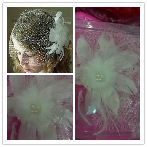 ŁAŁ!! Real-Image Bridal BirdCage Veils Pióro Perły Krótka Weil Welon Net One Warstwa Akcesoria Ślubne Kwiaty Bride Fascynator 2014