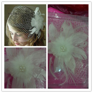 Wholesale WOW Real image bridal Birdcage Veils feather pearls short face Veil net one layer wedding accessories flowers bride Fascinator
