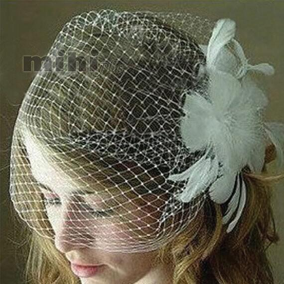 WOW!! Real-image bridal Birdcage Veils feather pearls short face Veil net one layer wedding accessories flowers bride Fascinator 2014