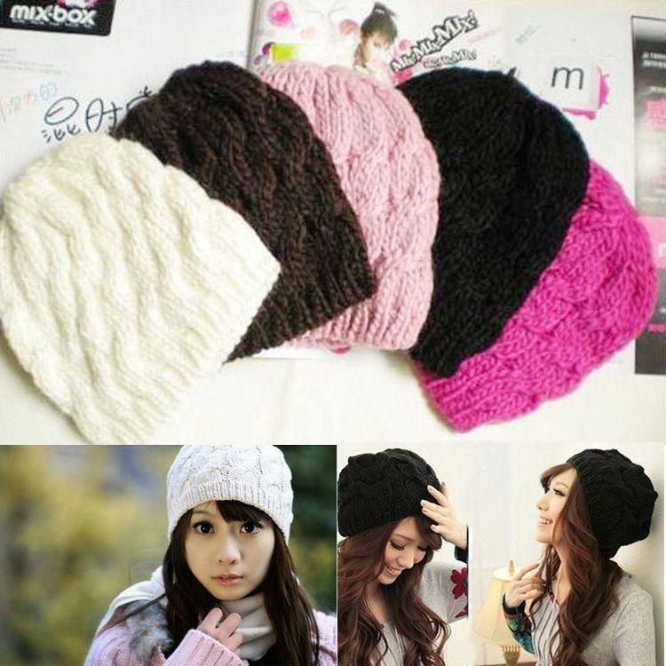 Winter Womens Beanie Hats Knitted Knit Caps Crochet Wool Blends Warm ... 15ac5b16470d