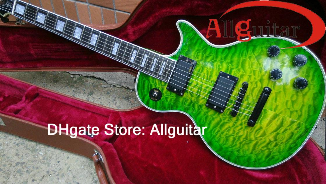 custom shop green guitar ebony fretboard black active pickups black hardware great chinese. Black Bedroom Furniture Sets. Home Design Ideas