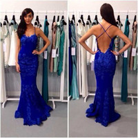Wholesale Cut Up Prom Dresses - 2017 Blue Color Prom Dress Sexy Mermaid Low Cut Open Back Long Women Backless Gown Free Shipping WH476