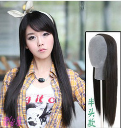Wholesale Half Head Straight Wigs - 2013 new free shipping half wig with long straight hair wig Korean girls simulation without bangs hairstyle half head jiafa