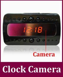 Wholesale Alarm Sound Motion - HD 1080p V26 Black pearl RF night vision alarm clock motion detection video   sound recording Hidden Camera Clock 10pcs lot Free DHL