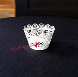 Wholesale White Paper Muffin Cups - Free Shipping white lace cupcake wrapper, laser muffin cup cake cups wrappers pearl paper wedding party decoration supplies