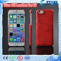 Wholesale iphone6 cases online - 2014 New Wax Oil PU Leather Cover for iPhone6 Color Optional High Quality PU Durable Cell phone Shell A