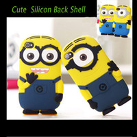 Wholesale Despicable Silicon Iphone - Cute Cartoon Despicable Me & Minions Soft Silicon Case Cover for iPhone 4 4S 5 5S iPhone 6 4.7 inch High Quality with Shockproof Waterproof