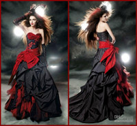 Wholesale Taffeta Corset Wedding Dresses - Black And Red Gothic Wedding Dresses 2017 Vintage Court Style Sweetheart Ruffle Taffeta Floor Length Big Bow Sexy Corset Bridal Gowns