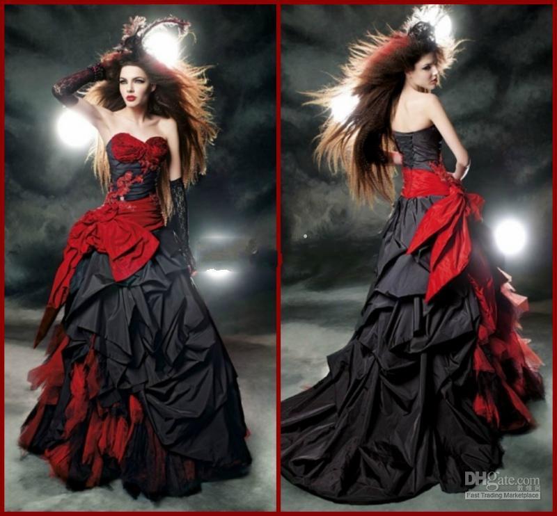 Robes de mariée gothiques noires et rouges 2018 Vintage Style Tribunal chérie À Volants Taffetas Longueur De Plancher Grand Arc Sexy Corset Robes De Mariée