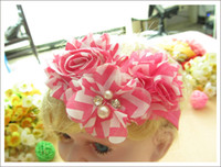 Wholesale Girls Lace Tops Flowers - 30pcs Fashion kids hair styling top baby headband with diamond baby girl lace elastic headband with flowers infant spring head wear