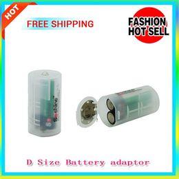 Wholesale Battery Holder Size - free shipping D Size Battery adaptor Hard Plastic Case Holder Battery Storage Box AA*2 to D Size battery case 2pcs AA