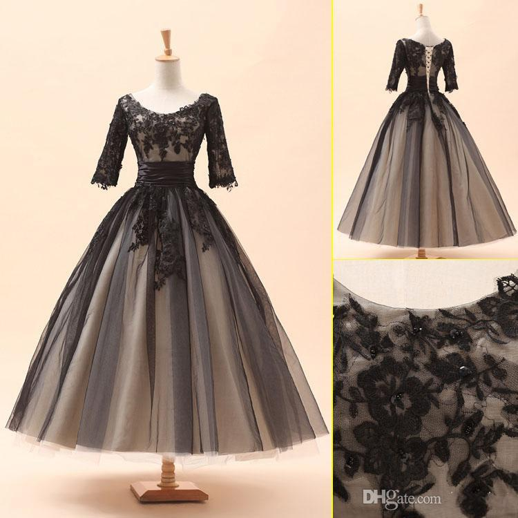2015 New Arrival A Line Ball Gown Scoop Tea Length Half Sleeves ...