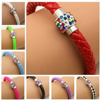 Wholesale Magnetic Plastic Bangle Bracelets - 40pcs Fashion PU Leather Wristband Cuff Punk Magnetic Colorful Rhinestone Buckle Bracelet Bangle 8colors 012345