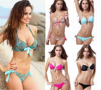 Wholesale Leopard Women S Bikini Swimwear - 2016 Women Push Up Bikini Swimsuit Leopard Print Padded Swimwear Bathing Suits Brazilian Halter Boho Draw Bow Cord New Designer S M L T93