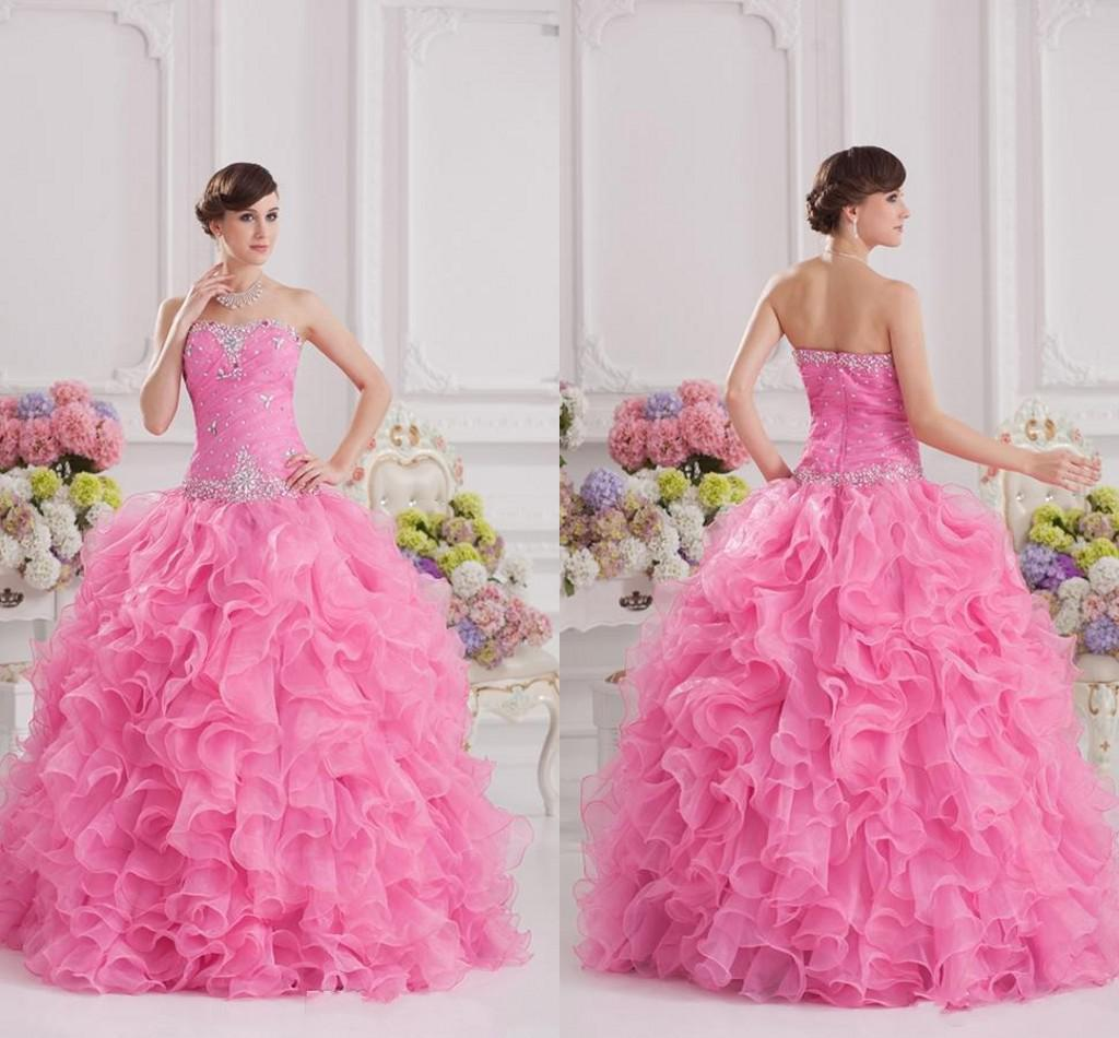 Bling Bling Crystal Lovely Pink Quinceanera Dresses Ruffle Open Back ...