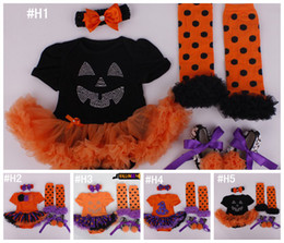 Wholesale Wholesale Leopard Crib Shoes - Baby Girls 4pc HALLOWEEN Set 0-12M pumpkin tutu romper & crib shoes & legwarmer lace Ruffled Black Orange & headband outfit