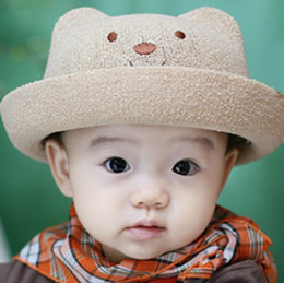 Wholesale Boys Buckets - Cute Bear Children's Fedoras Bucket Straw Hats Sun Hat Linen Caps Retail Hot Sale Free Shipping