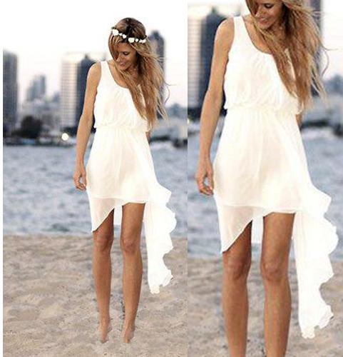 best selling Summer Style Asymmetrical Short Beach Wedding Dresses Simple Design Scoop Neck Ivory Chiffon Sheath Bridal Gowns Custom Made W350