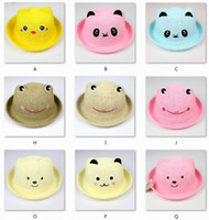 Wholesale Boys Summer Fedora Straw Hat - Baby Cap 1-7year Children Fedoras Bear Chick Character Boy's Straw Hat Beret 1pc lot