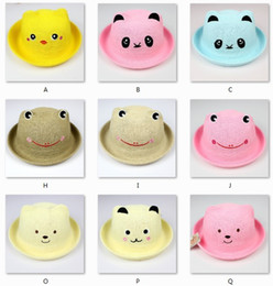 Wholesale Khaki Fedora Hat - Baby Cap 1-7year Children Fedoras Bear Chick Character Boy's Straw Hat Beret 1pc lot