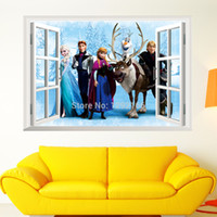 Wholesale home decoration wall decals NEW Frozen Cartoon Window D Wall Sticker PVC Children Room Decoration Removable G