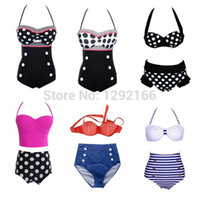 Wholesale Pink Pin Stripes - gift Free shipping selling fashionable sexy HOT Pin Up Retro Dots Stripes Fashion Swimsuit Beach Bra High Waist Bikini Set wbk7