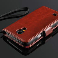 Wholesale S4 Holder Card Luxury - Vintage Wallet With Stand Leather case for Samsung Galaxy S4 mini i9190 New 2014 Luxury Phone Bag with 2 Card Holder
