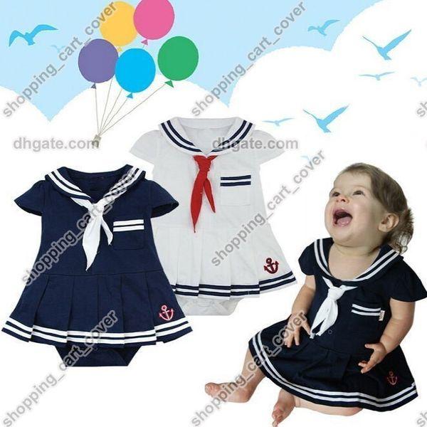 Baby Infant Kid Child Toddler Girl Navy Marine Sailor Grow Tutu Skirt Pettieskirt Romper Outfit One-Piece Fancy Dress Costume Cloth Suit Set