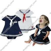 Wholesale Infant Sailor Dresses - Baby Infant Kid Child Toddler Girl Navy Marine Sailor Grow Tutu Skirt Pettieskirt Romper Outfit Bodysuit Fancy Dress Costume Cloth Suit Set