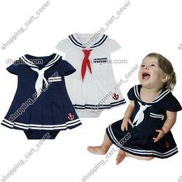 Wholesale Sailor Girl Fancy Dress - Baby Infant Kid Child Toddler Girl Navy Marine Sailor Grow Tutu Skirt Pettieskirt Romper Outfit Bodysuit Fancy Dress Costume Cloth Suit Set