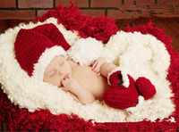 Wholesale crochet hat boots resale online - 2014 Winter Baby Infants Warm Clothing Pure Hand Woven Hats Boots Set Accessories Christmas Day Clothes Set Kniting Newborn Wear J1630