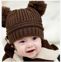 Wholesale Red Knit Beret - Pure Crochet Baby Beanies Skullies Children's Berets Knitted Boys Cap Winter Warm Bomber Hats Free Shipping